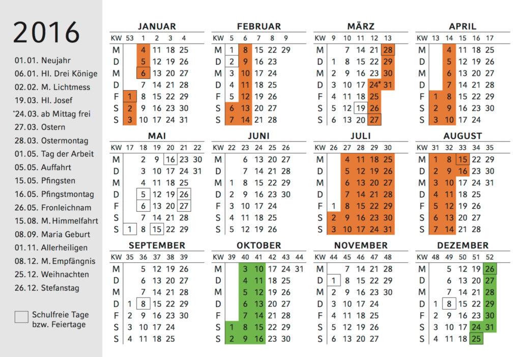 Ferienkalender 2016