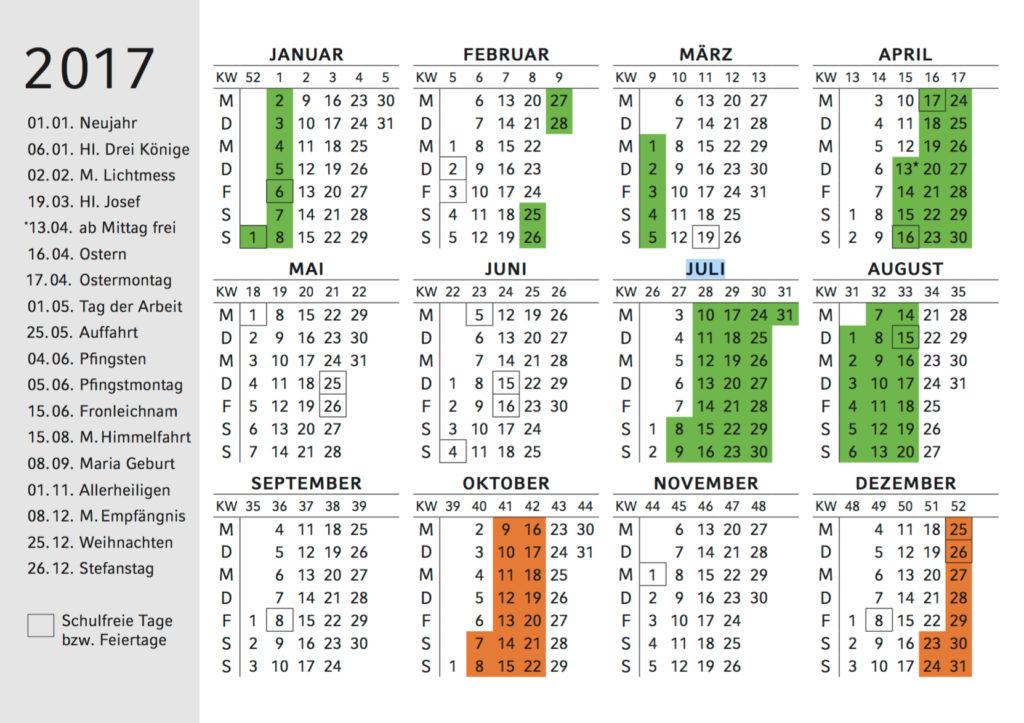Ferienkalender 2017